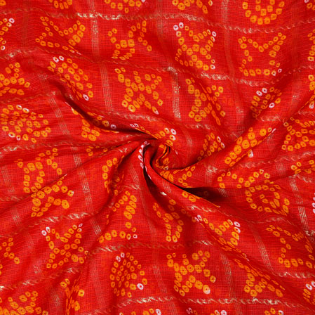 Red Yellow Flower Foil Work Kota Doria Fabric-42587