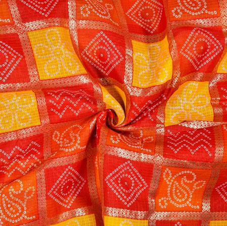 Red Yellow Square Kota Doria Fabric-42588