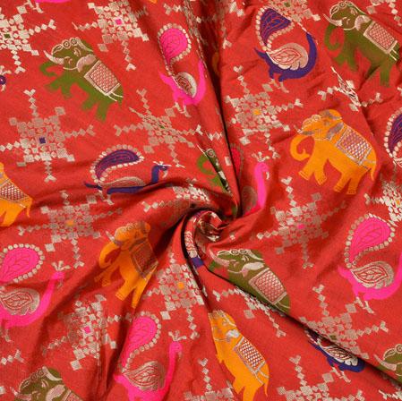 Red Yellow and Blue Animal Print Banarasi Brocade SIlk Fabric-12761