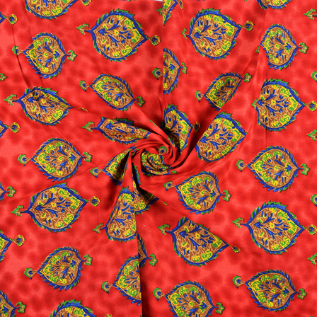 Red-Yellow and Blue Floral Design Block Print Fabric-14427