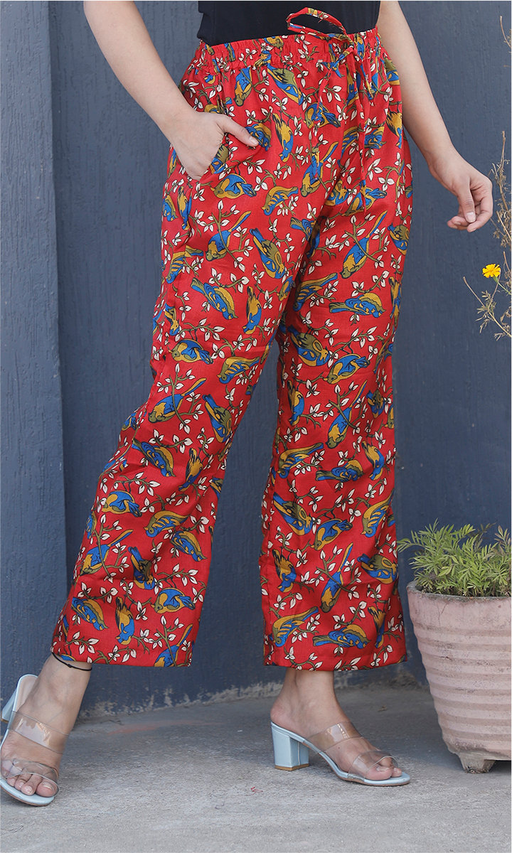 Red Yellow and Blue Manipuri Silk Sparrow Palazzo Pant-34484