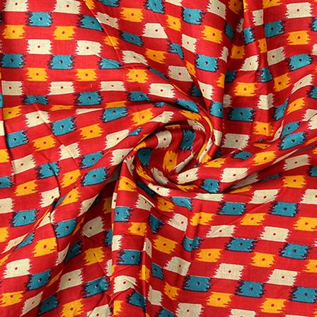 Red-Yellow and Cream Kalamkari Cotton Fabric-10061