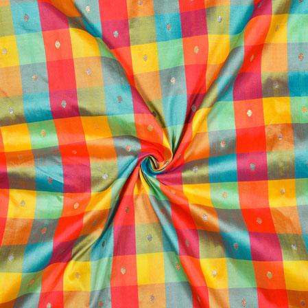 Red Yellow and Golden Checks Taffeta Silk Fabric-12729