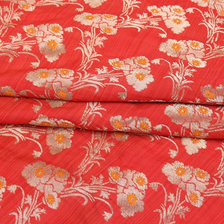 Red Yellow and Golden Floral Digital Banarasi Silk Fabric-9222
