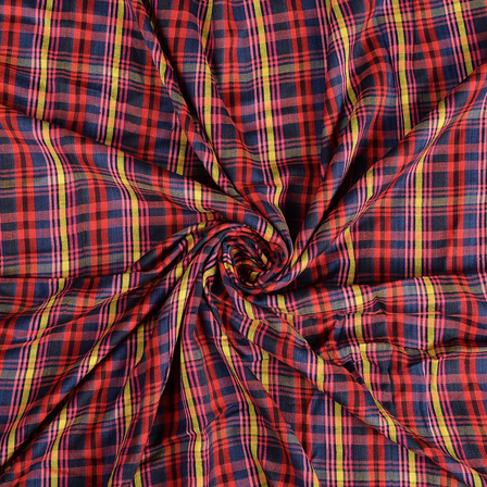 Red-Yellow and Pink Checks Rayon Shirt Fabric-40241
