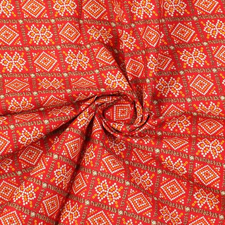 Red-Yellow and White Square Design Kalamkari Cotton Fabric-10015
