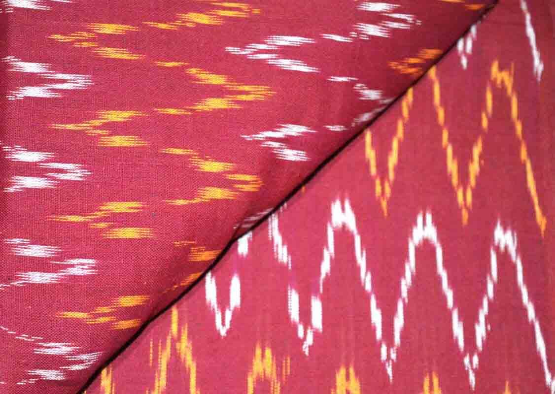 Red Zig Zag Pattern Ikat Blouse Fabric