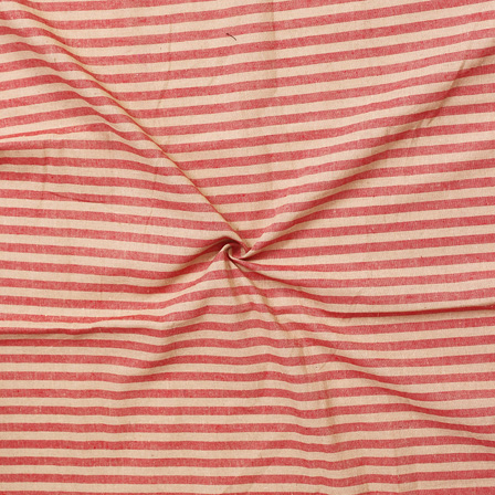 Red and Beige Lining Handloom Cotton Stripe Khadi Fabric-40006