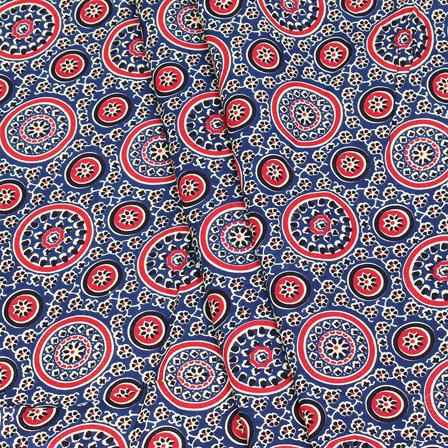 Red and Black Circular Design On Blue Block Print Cotton Fabric-14317