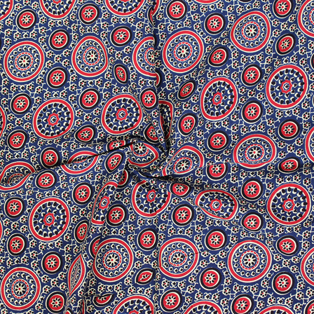 Red and Black Circular Design On Blue Block Print Cotton Fabric-14317