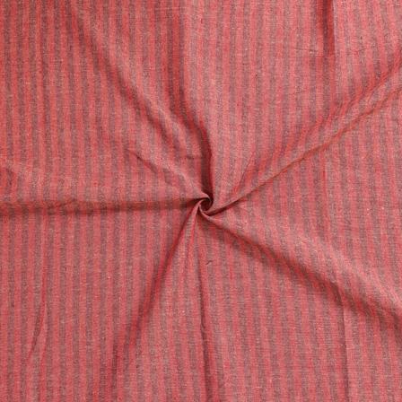 Red and Black Lining Handloom Cotton Stripe Khadi Fabric-40002
