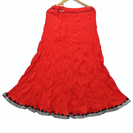 Red and Black Plain Cotton Skirt-23040