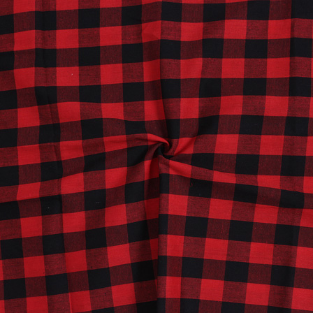 Red and Black Tom Tom Checks Handloom  Cotton Khadi Fabric-40028
