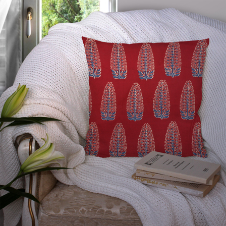 Red and Blue Cotton Cushion Cover-35031