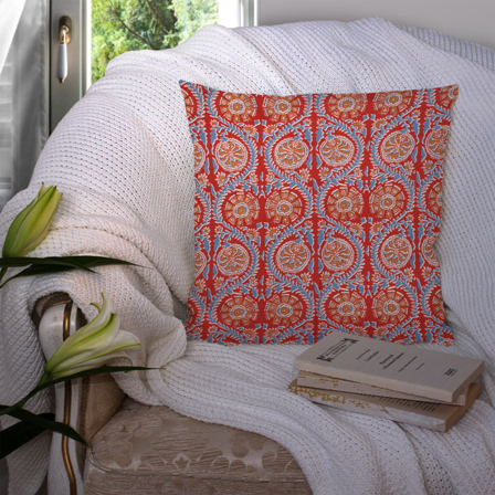 Red and Blue Cotton Cushion Cover-35041