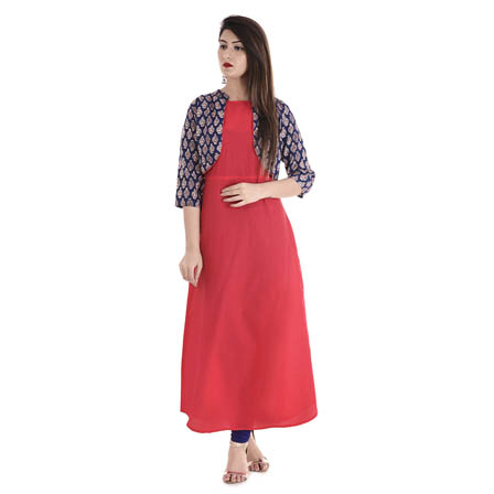 Red and Blue Cut Sleeve Inner With 3/4 Sleeve Cotton and Rayon Jacket-3086