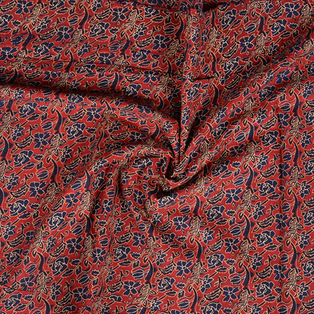 Red and Blue Floral Design Kalamkari Cotton Block Print Fabric-14399