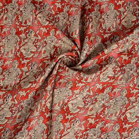 Red and Cream Kalamkari Manipuri Silk Fabric-16356