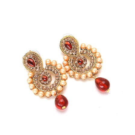 Red and Cream pearls and Gold Stone Earring for Women