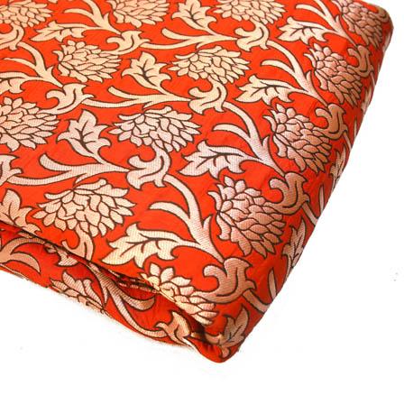 Red and Golden Beautiful Flower Design Brocade Silk Fabric-8170