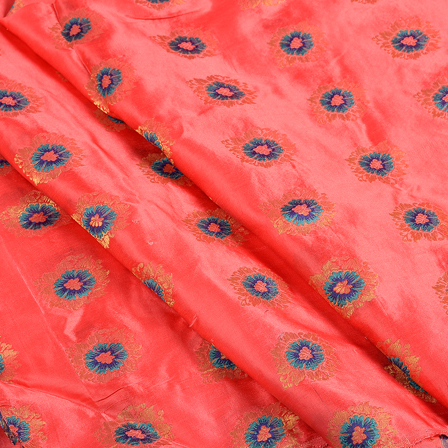 Red and Golden-Blue Flower Jam Cotton Silk Fabric-75140