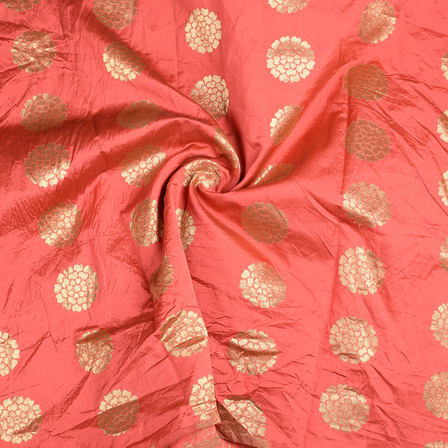 Red and Golden Brocade Silk Fabric-8580