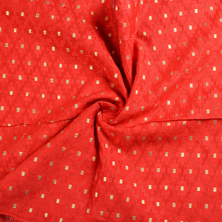Red and Golden Brocade Silk Fabric-8638