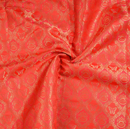 Red and Golden Brocade Silk Fabric-8644
