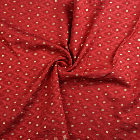 Red and Golden Brocade Silk Fabric-8657