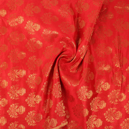 Red and Golden Brocade Silk Fabric-8864