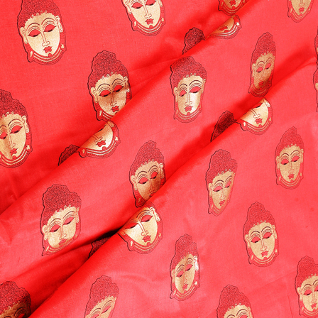 Red and Golden Buddha Face Jam Cotton Silk Fabric-75161