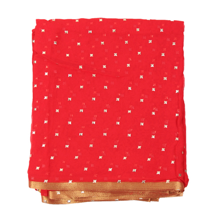 Red and Golden Chiffon Fabric-29108