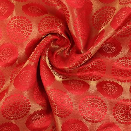 Red and Golden Circular Brocade Silk Fabric-8839