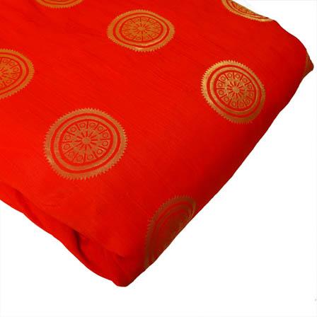 Red and Golden Circular Design Brocade Silk Fabric-8164