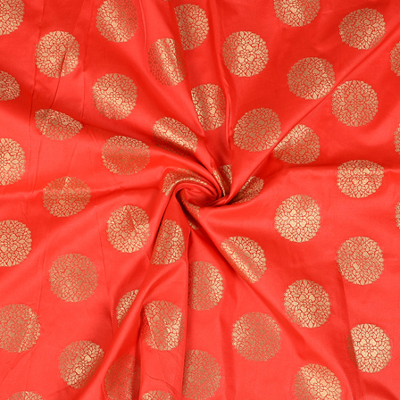 Red and Golden Circular Design Two Tone Banarasi Silk Fabric-8433