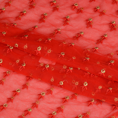 Red and Golden Embroidery Net Fabric-60786
