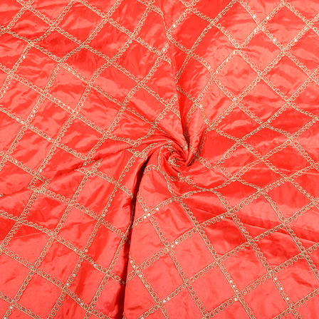 Red and Golden Embroidery Paper Silk Fabric-60490