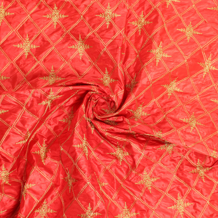Red and Golden Embroidery Silk Fabric-60900