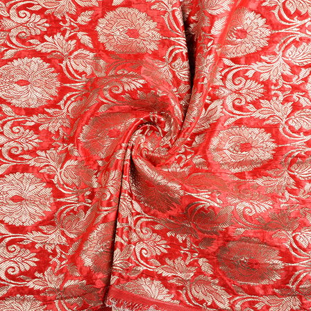 Red and Golden Floral Banarasi Brocade Fabric-8659