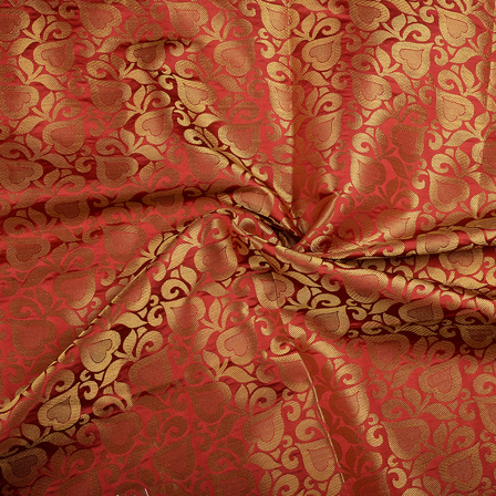Red and Golden Floral Brocade Silk Fabric-8565