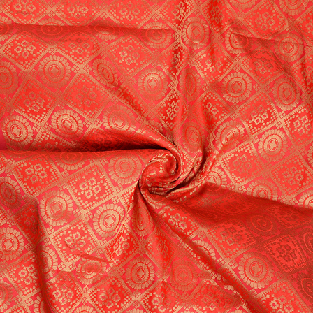 Red and Golden Floral  Brocade Silk Fabric-8652