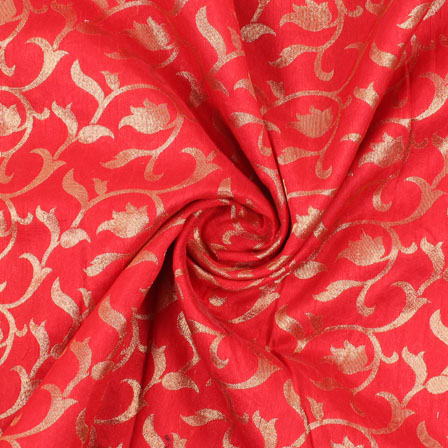 Red and Golden Floral Brocade Silk Fabric-8890