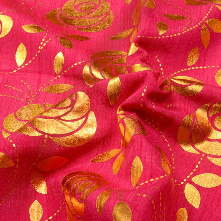 Red and Golden Floral Design Brocade Silk Fabric-5390
