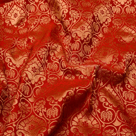 Red and Golden Floral Design Chanderi Silk Fabric-5463