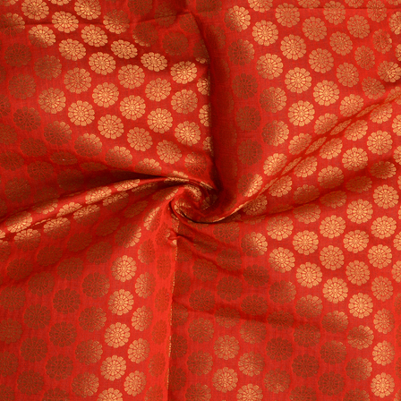 Red and Golden Floral Design Silk Brocade Fabric-8380