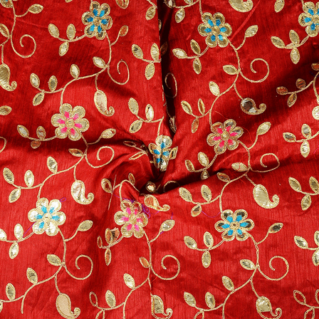 Red and Golden Floral Design Silk Embroidery Fabric-60288