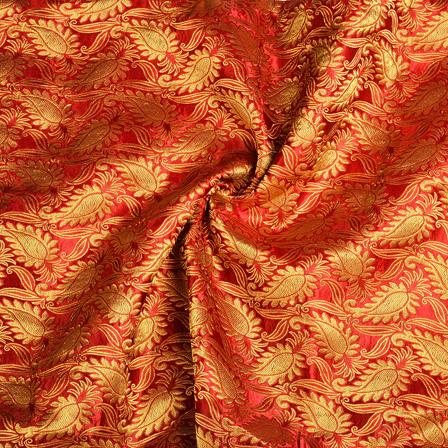 Red and Golden Floral Kinkhab Banarasi Brocade Fabric-8502