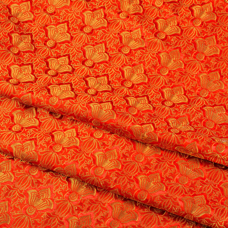 Red and Golden Floral Kinkhab Banarasi Brocade Fabric-8510