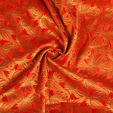 Red and Golden Floral Kinkhab Banarasi Brocade Fabric-8515