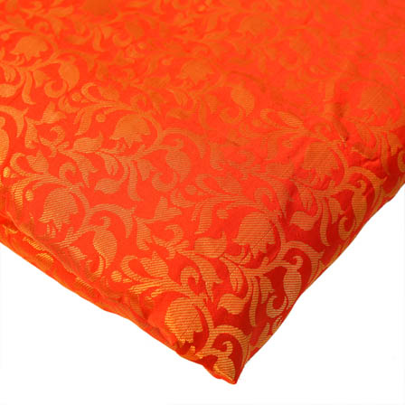 Red and Golden Floral Pattern Brocade Silk Fabric-8198